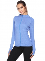 Blue Stand Collar Long Sleeve Zipper Fitness Coats