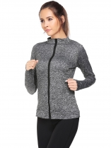 Grey Stand Collar Long Sleeve Zipper Fitness Coats
