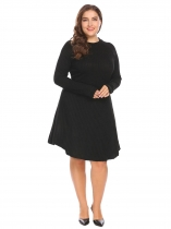 Black Plus Size Long Sleeve Loose Fit Knitted Sweater Dress