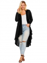 Black Plus Size Long Sleeve Open Front Draped Irregular Long Cardigan