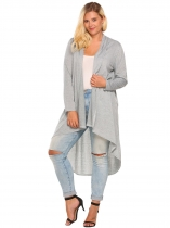 Gray Plus Size Long Sleeve Open Front Draped Irregular Long Cardigan