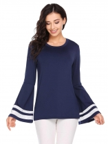 Dark blue Contrast Color O-Neck Trumpet Long Sleeve Tops