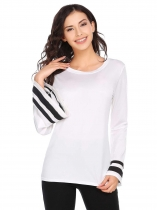 White Contrast Color O-Neck Trumpet Long Sleeve Tops