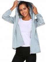 Gray Women Lightweight Rainwear Outdoor Hoodie Windbreaker Jacket