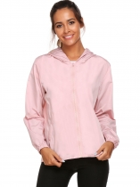 Misty Rose Women Lightweight Rainwear Outdoor Hoodie Windbreaker Jacket