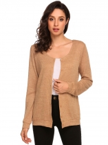 Brown Women's Long Sleeve Button Down Basic Slim Fit Knit Cardigan