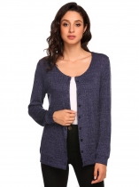 Navy blue Women's Long Sleeve Button Down Basic Slim Fit Knit Cardigan