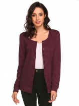 Wine red Women's Long Sleeve Button Down Basic Slim Fit Knit Cardigan