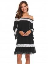 Black Women Casual Slash Neck Off the Shoulder Flare Sleeve Lace Patchwork Sexy Dress