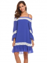 Royal Blue Women Casual Slash Neck Off the Shoulder Flare Sleeve Lace Patchwork Sexy Dress