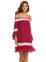 Wine red Women Casual Slash Neck Off the Shoulder Flare Sleeve Lace Patchwork Sexy Dress