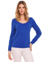 Blue O-Neck Long Sleeve Solid Pleated T-Shirt