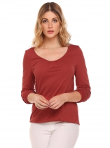 Dark red O-Neck Long Sleeve Solid Pleated T-Shirt