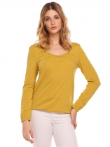 Dark Yellow O-Neck Long Sleeve Solid Pleated T-Shirt