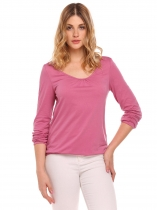 Purple Red O-Neck Long Sleeve Solid Pleated T-Shirt