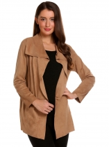 Khaki Women Casual Fake Suede Long Sleeve Open Front Belted Cardigan