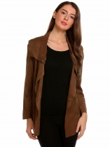 Dark brown Women Casual Fake Suede Long Sleeve Open Front Belted Cardigan