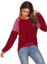 Wine red O-Neck Long Sleeve Lint Patchwork Loose High Low Sweatshirt