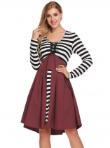 Wine red V-Neck Long Sleeve Striped Patchwork Swing Dress