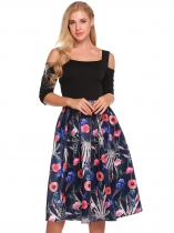 Navy blue Cold Shoulder 3/4 Sleeve Floral Patchwork Dress