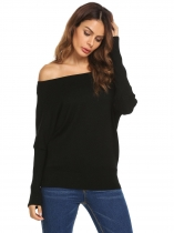 Black Batwing Sleeve Solid Loose Pullover Thin Knit Sweater