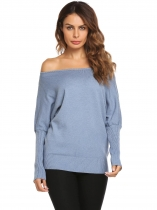 Blue Batwing Sleeve Solid Loose Pullover Thin Knit Sweater
