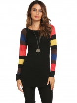 Black Long Sleeve Contrast Color Patchwork Pullover Thin Knitted Sweater