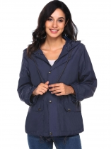Navy blue Lightweight Zip Up Solid Hooded Outdoor Waterproof Coat
