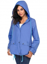 Blue Lightweight Zip Up Solid Hooded Outdoor Waterproof Coat
