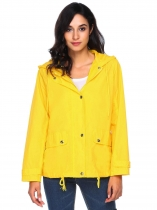 Yellow Lightweight Zip Up Solid Hooded Outdoor Waterproof Coat