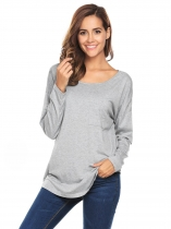 Grey Women O-Neck Long Sleeve Criss Cross Back Curved Hem Casual Loose Top T-Shirts