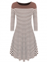 Khaki Striped Patchwork 3/4 Sleeve Loose Fit Dress