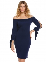 Navy blue 3/4 Split Sleeve Solid Off Shoulder Dress