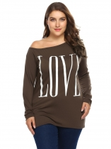 Coffee One Shoulder Letter Print Tops Plus Size
