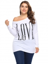 White One Shoulder Letter Print Tops Plus Size