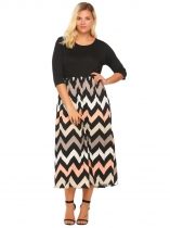 Black Plus Size 3/4 Sleeve Wave Patchwork Dress