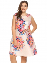 Pink Sleeveless Floral A-Line Dress Plus Size