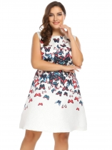 Blue Sleeveless Floral A-Line Dress Plus Size