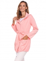 Pink Detachable Hooded Long Sleeve Lightweight Coat with Belt