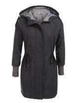 Grey Women Hooded Long Sleeve Slim Waist Drawstring Woolen Coat