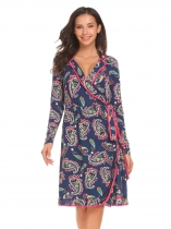 Navy blue Wrap Long Sleeve Floral Loose Slim Waist Dress