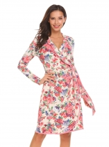 White Wrap Long Sleeve Floral Loose Slim Waist Dress