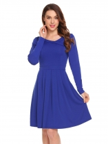 Royal Blue Women Fashion V-Neck Long Sleeve Solid Slim Waist A-Line Dress