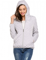 Grey Hooded Light Weight Short Slim Coat With Fleece Lining