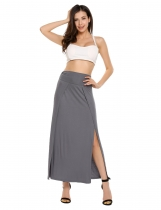 Dark gray High Waist Solid High Split Maxi Skirt