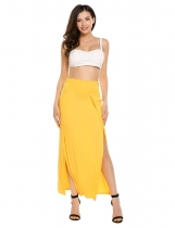 Yellow High Waist Solid High Split Maxi Skirt