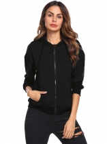 Black Women Long Sleeve Drawstring Full-Zip Hoodie