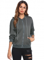 Grey Women Long Sleeve Drawstring Full-Zip Hoodie