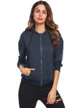 Navy blue Women Long Sleeve Drawstring Full-Zip Hoodie