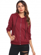 Wine red Women Long Sleeve Drawstring Full-Zip Hoodie